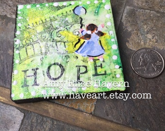 HOPE mixed media collage original painting 3x3