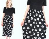 90s FLORAL dress vintage early 1990s GRUNGE daisy print semi sheer MIDI dress 90s grunge flower dresses os