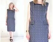 1940s vintage dress 40s dresses ww2 era EASTERN EUROPEAN navy blue + white embroidered ROCKABILLY house dress medium
