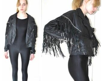 leather FRINGE jacket vintage black leather moto jacket 70s RETRO boho festival leather fringe coat medium
