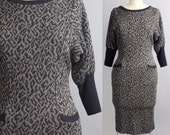 animal print knit dress | leopard print sweater dress | vintage 1980s wiggle dress | xs-s