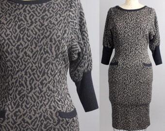 animal print knit dress | leopard print sweater dress | vintage 1980s wiggle dress | xs-s