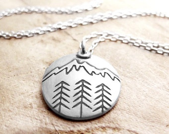 Mountain necklace, silver mountain jewelry, forest necklace, hiking jewelry, wilderness necklace, tree necklace, trees jewelry