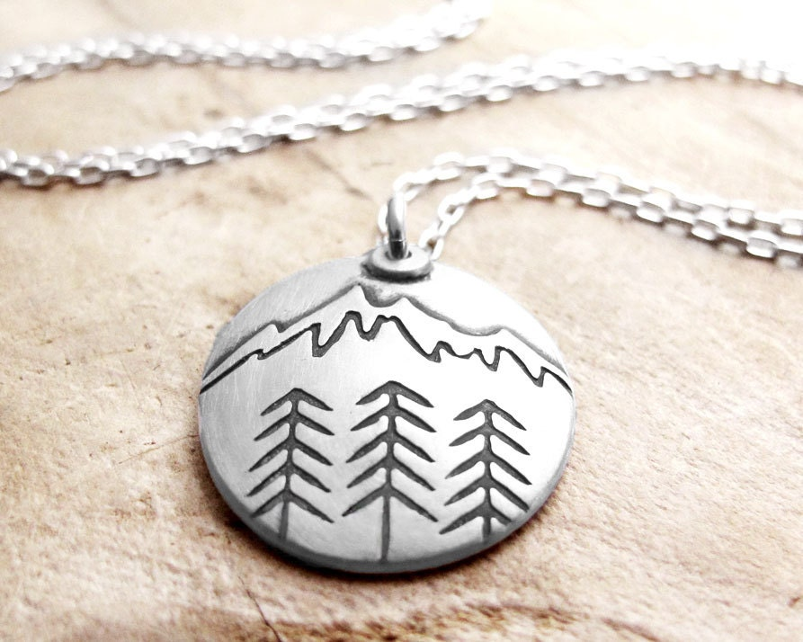 mountain necklace silver mountain jewelry forest necklace. Black Bedroom Furniture Sets. Home Design Ideas