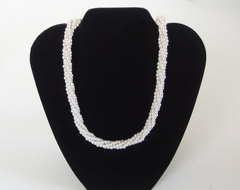 """29"""" Vintage Napier Pearl Rope Necklace, Long Twisted Ivory Pearl Necklace"""