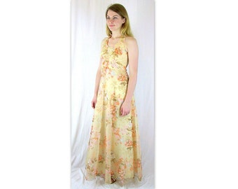 Vintage 1970's Tan Floral Halter Prom Party Dress, Modern Size 8 Small
