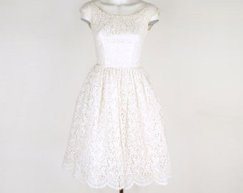 50s White Lace, Tulle and Taffeta Tea Length Dress XXS
