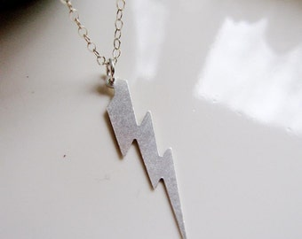 Silver Lightning Bolt Necklace, Sterling Silver Thunder Lightening Pendant necklace Everyday Necklace