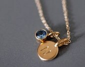 14k Gold Vermeil Tiny Initial and Birthstone Necklace - Matte Gold Customized Necklace - Personalized Birthday Gift