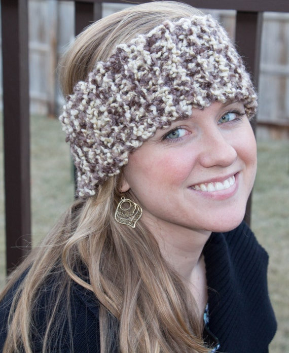 Bargain! Hand Knit Women's Ear Warmer in Brown and Cream, Easy Care Acrylic -- Birch Color -- Also Available in Blue