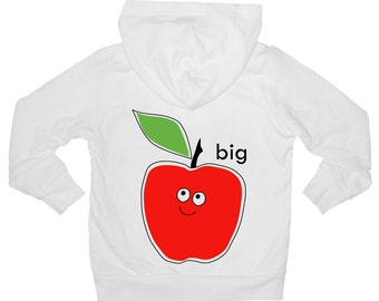 Cotton fleece hoodie with zipper and pockets for infants and children with screen printed Big Apple design by Bugged Out, made in the USA