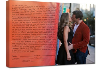 Ketubah photo Ketubot modern Canvas Jewish Art Modern Wedding Photo and Wording  18x24