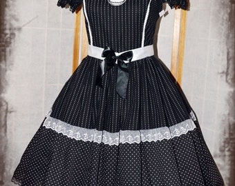Black stripes and polkadot Nightmare Before Christmas gothic lolita dress
