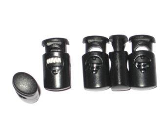 Small Oval Ellipse Cord Locks, Toggles, Black C6 12-500 count