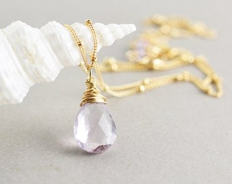 Amethyst Drop Necklace, Purple Necklace, February Birthstone Jewelry