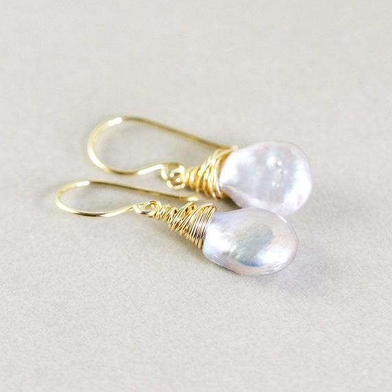 Gray Pearl Dangle Earrings, Pearl Drop Earrings, June Birthstone
