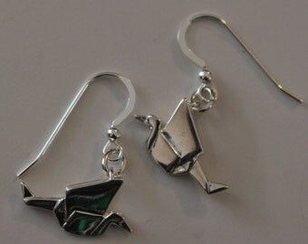 Sterling Silver 3D ORIGAMI CRANE Earrings -