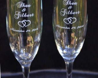 Engraved Wedding Toasting Flutes, Custom Bride and Groom Champagne Glasses, Personalized Wedding Anniversary Gift - EH