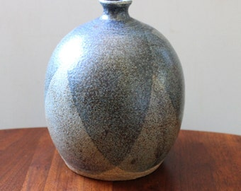 Rustic blue gray vintage stoneware pottery vase.
