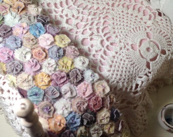 1:12  scale doll rag miniature rug quilt shabby vintage french dollhouse