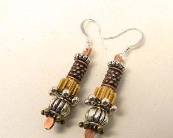 Steampunk jewelry. Mixed metal earrings. Steampunk earrings.