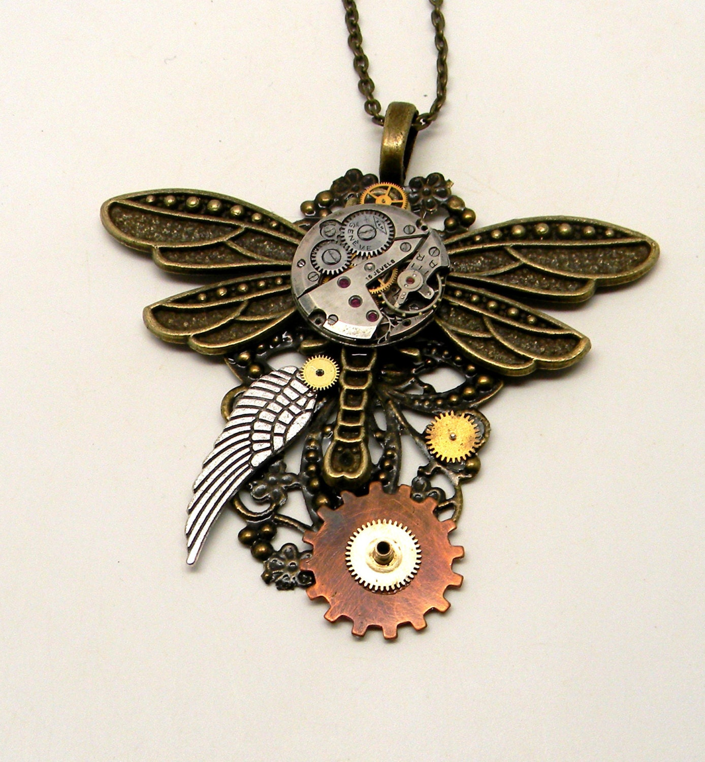 Steampunk jewelry large dragonfly necklace pendant.
