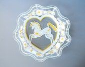 peter hunt vintage glass folk art painted dish platter bowl yellow and white horse and hearts