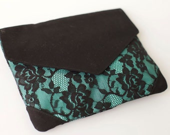 aqua and lace Envelope Clutch