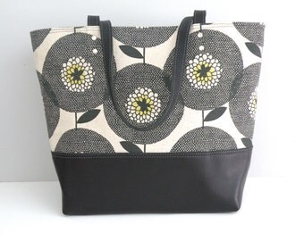 Large Tote, Travel Bag, Handprinted Purse, Skinny Laminx Tote, Floral Purse,  Sunflower Bag, Commuter Tote, Black Leather Bottom Bag