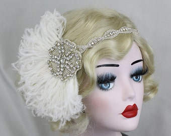 Ivory White Feather Headband, Bridal Head Piece, 1920's Flapper, Hair Accessory, Crystal Head Dress, Feather Fascinator, Bridal Fascinator
