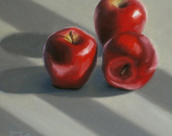Red Apples 6x6 original oil painting realistic still life by Nance Danforth