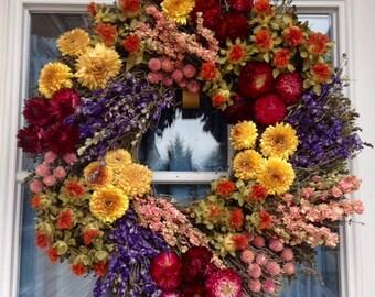 Fall wreath, Summer, Dried Wreath, Herb Wreath, Spring Wreath, Door Wreath, Year Round Wreath, Indoor Wreath, Wreath for Door, Home Decor