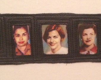 Mirabal Sisters/Hermanas Mirabal, Leather Cuff, Dominican Republic Heroes, Ready to Ship