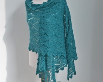 Lace knitted shawl with crochet trim, Teal,  N290