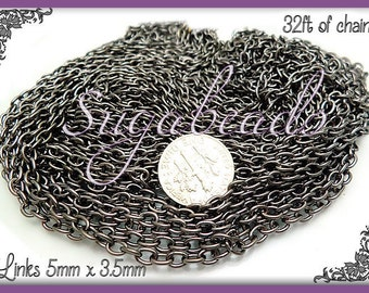 Gunmetal Chain - Bulk Cable Chain 32ft or 10 meters 5mm x 3.5mm links (CGM2)