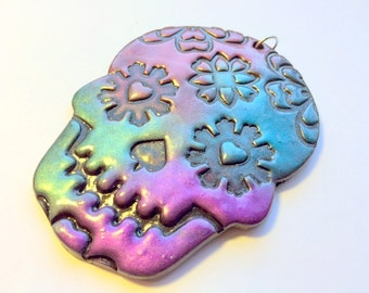 Gem Colors on Black Sugar Skull Day of the Dead Ornament or Decoration
