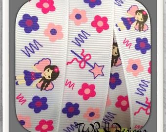 "Fairy Fashion MTMG on white 7/8"" grosgrain ribbon 5 Yards- TWRH"