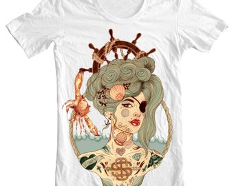 Mermaid Ahoy T-Shirt, Unisex T-Shirt, White, XS/S/M/L/XL/XXL