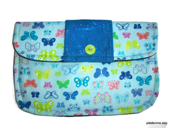 Bright Butterflies on Blue Clutch Charmante Medium