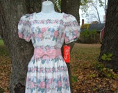 NEW NWT Petite Lanz Dress S Garden Tea Party Floral USA Chintz Print 8 Vintage Country Charm
