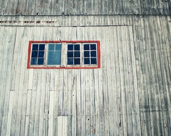 Barn Photography, Rustic Decor, Landscape photography, wall hanging, red windowr photo, Americana Art, Grey and Red, fine art photography