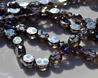 Silver Peacock Coin 10mm Czech Glass Beads  10