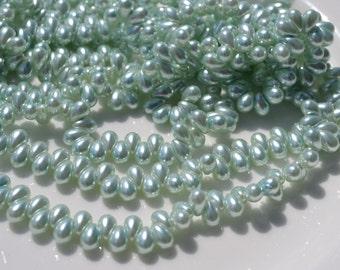 Pale Mint Green Pearlized 6x4mm Czech Glass Drops 100