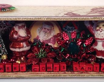 Here Comes Santa shadow box diorama recycled cigar box
