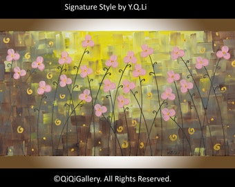 Pink flowers art Original oil abstract landscape painting home decor wall decor gift for her gift for mom by qiqillery