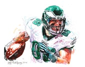 Watercolor portrait painting of Philadelphia Eagles football player Zach Ertz-giclee from original