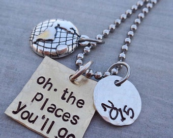 Oh The Places You'll Go Graduation Necklace - School Student Grad High School College Gift - S226
