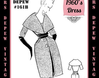 Vintage Sewing Pattern 1960's Day or Cocktail Dress in Any Size - PLUS Size Included - Depew 161B -INSTANT DOWNLOAD-