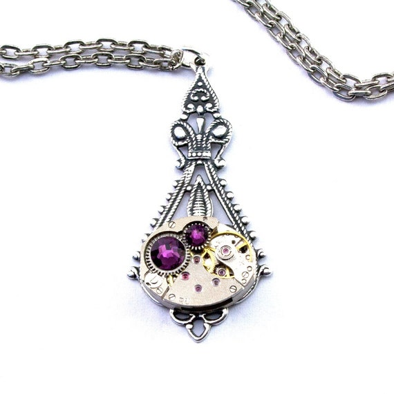 Purple Amethyst Steampunk Necklace February Birthstone Teardrop Art Nouveau Steam Punk Watch Movement Pendant designed by London Particulars