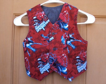 Spiderman vest--dark red --childrens vest  size 4 super hero vest